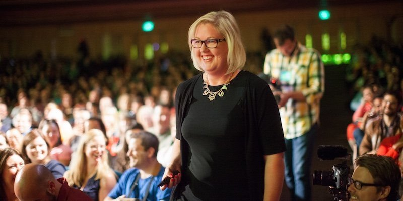 Tess Vigeland in the audience at World Domination Summit 2013