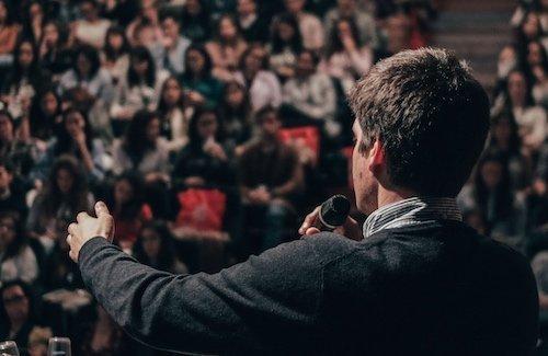 Storyteller on stage