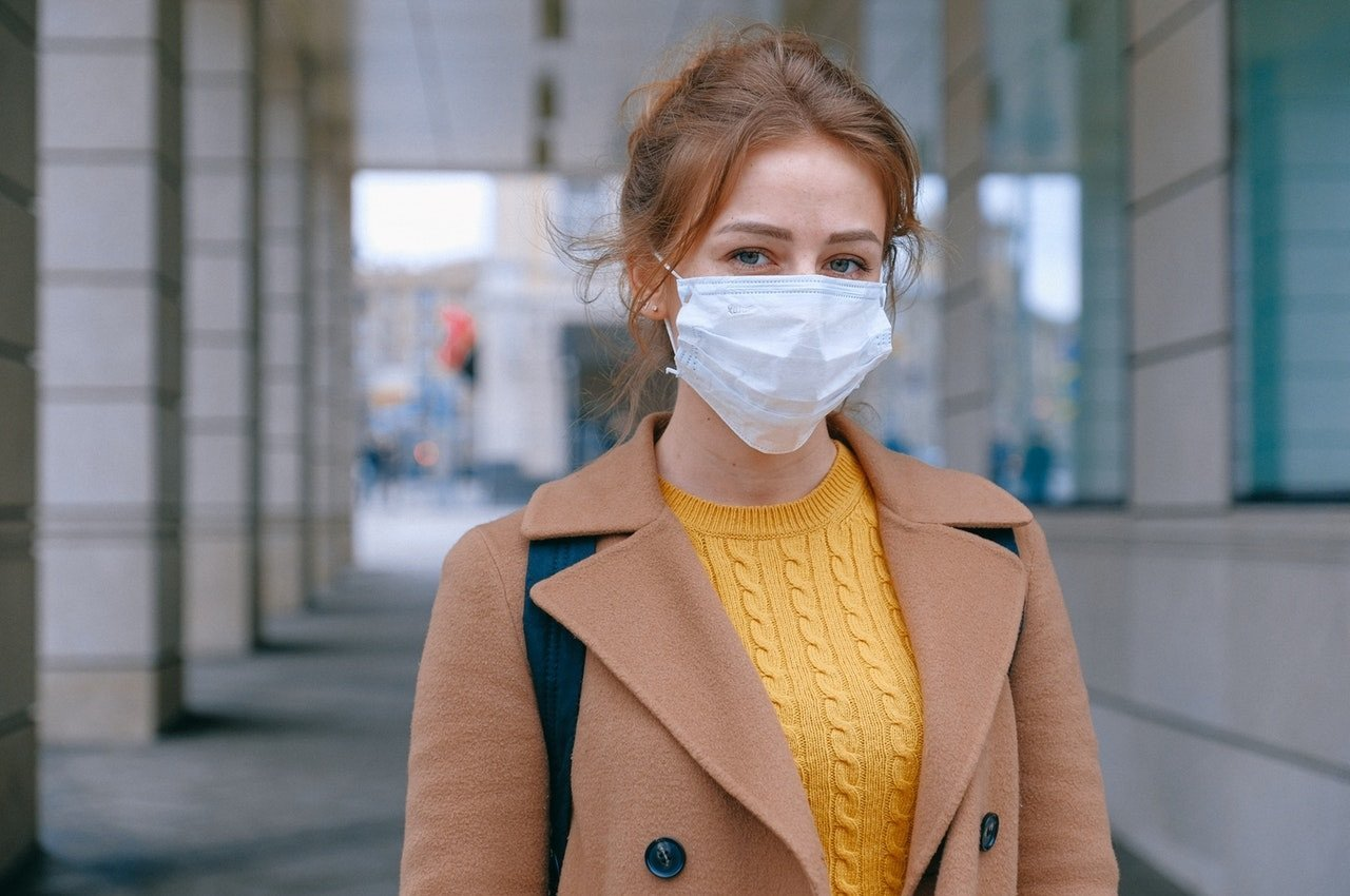 Woman Wearing Face Mask Coronavirus Covid-19