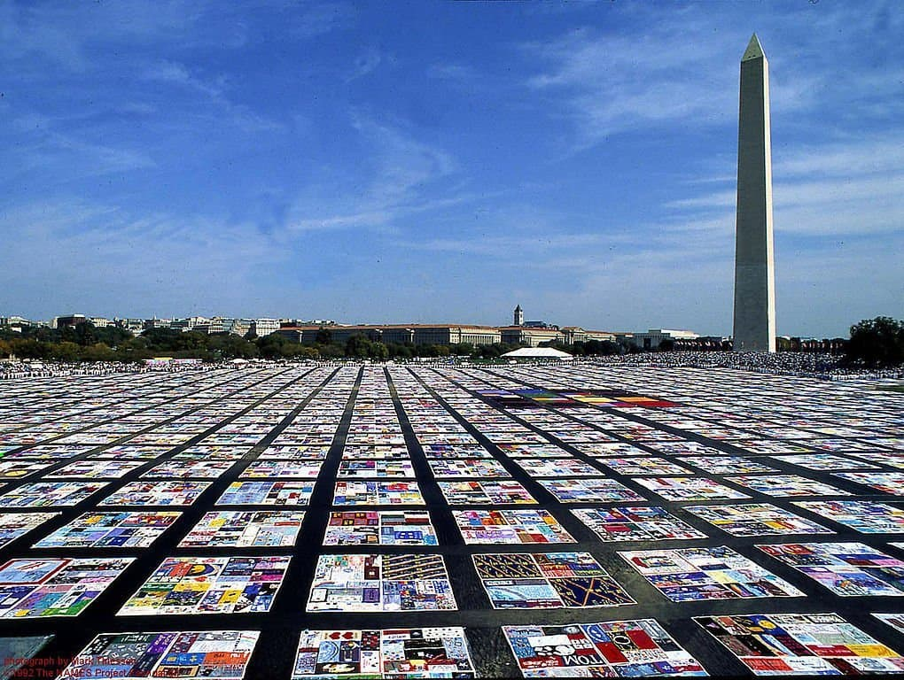 Aids Quilt in Front of Washington Monument